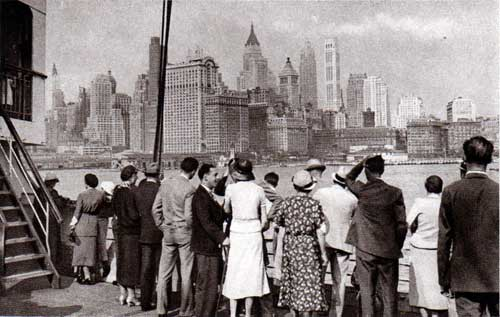 Passengers on the Deck view the New York Skyline