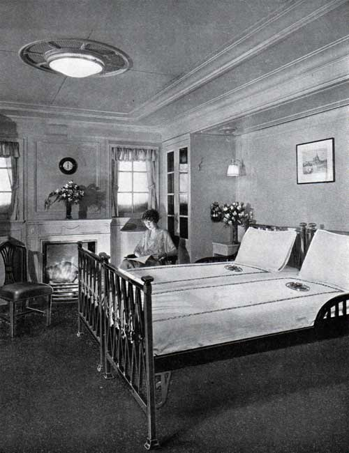 A typical stateroom with fireplace