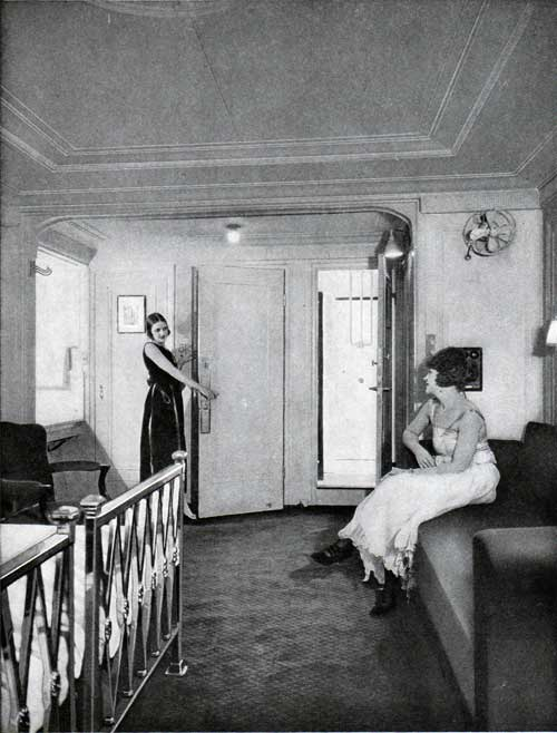 A stateroom with bath adjoining