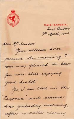 Letter Written by J. W. Bailey on Board the R.M.S. Saxonia - 1903