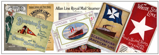 Collage of Steamship and Maritime Brochures available at the Archives