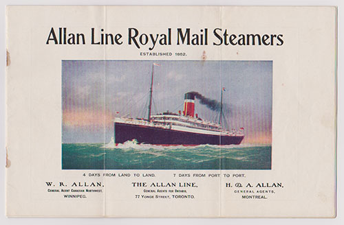 Front Cover - Allan Line Royal Mail Steamers featuring New Steamers Built in 1907 (1907 Brochure)