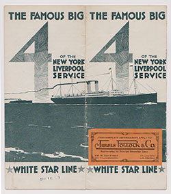 Cover of the The Famous Big 4 of the New York - Liverpool Service - White Star Line - 1909 Brochure