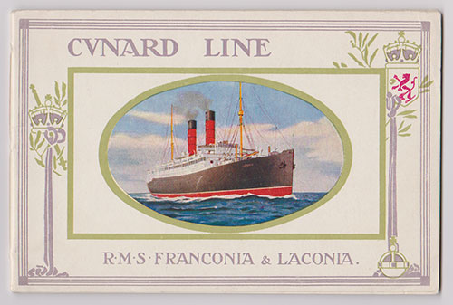 Front Cover, Cunard Line R.M.S. Franconia and Laconia (1911) EXTREMELY RARE