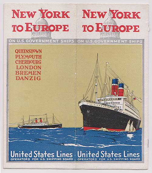 Front Cover, New York To Europe On U.S. Government Ships of the United States Lines (c1923)