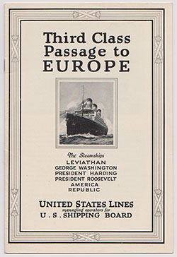 Third Class Passage To Europe - United States Lines - nd. c1925