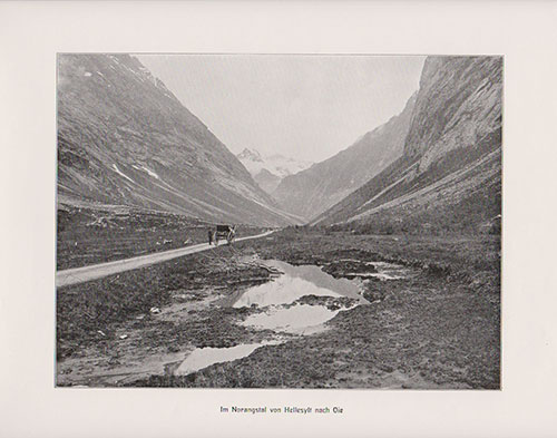 In Norangstal from Hellesylt to Oie. Image shows man standing next to stolkjerre or Two-Wheeled Buggy.