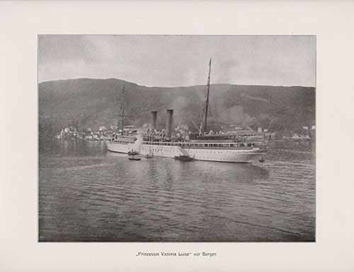 The S.S. Prinzessin Victoria Luise being guided into the harbor at Bergen by tugboats