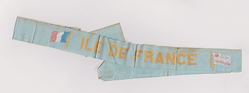 Light Blue Cap Tally - S.S. Ile De France of the CGT French Line (1926-1959)