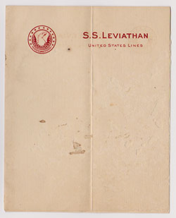 Letterhead - S.S. Leviathan, United States Lines (c1925)