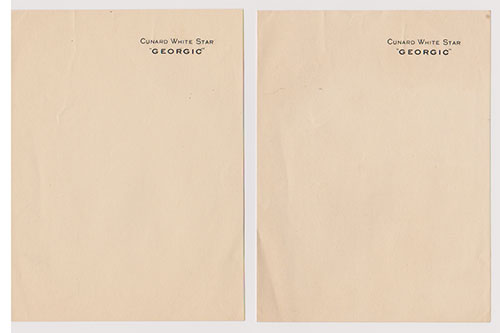 Letterhead - M.V. Georgic of the White Star Line (1932-1941, 1945-1956)