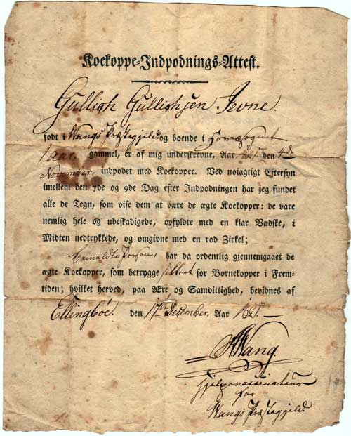 Kokoppe Indpodnings Attest - Cowpox Vaccination Certificate - 1821