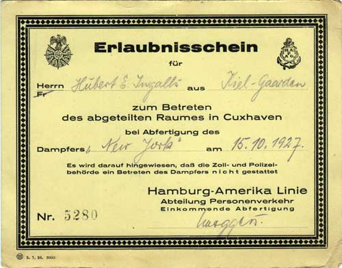 Erlaubnisschein or Permission Card for the SS New York 1927