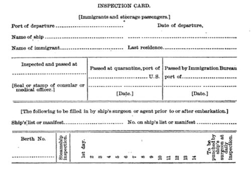 Inspection Card for Immigrants and Steerage Passengers, Front Side