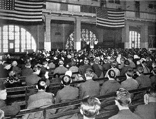 Immigrants Attend Mass at Ellis Island