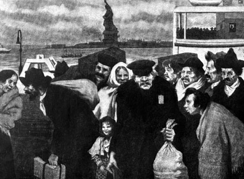 Immigrants Head Into The Great Red Building - The Gateway Into America