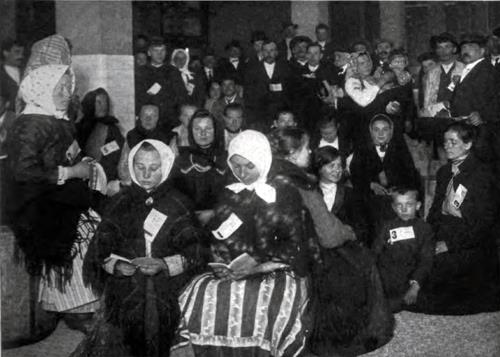 Immigrants In Railway Waiting Room At Ellis Island