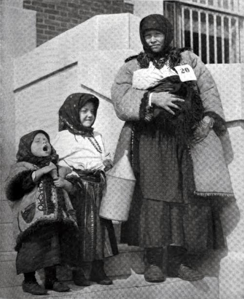 Immigrant Russian Mother And Her Flock At Ellis Island