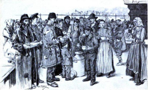Immigrants Landing at Ellis Island, Serving Soup on the Roof Garden