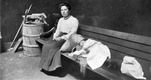 Woman and Child Waiting in one of the Railway Detention Rooms