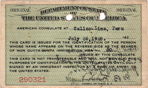 Immigrant Identification Card - Reverse Side - 1928