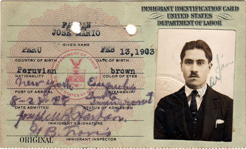 Immigrant Identification Card, United States Department of Labor, 1928