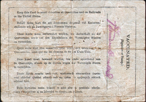 InspectionCard - Hans Johansen Rosholt - White Star Line - Germanic - Reverse Side