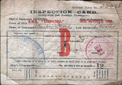 Immigrant Inspection Card - RMS Carpathia 1904 Liverpool to New York