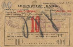 Immigrant Inspection Card - Liverpool to New York - 1910