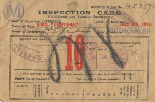 Immigrant Inspection Card, RMS Lusitania, July 1910