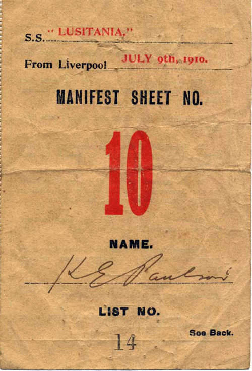 Manifest Sheet Immigrant Inspection Card, RMS Lusitania, July 1910