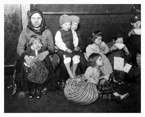 Immigrant with her Children at Ellis Island