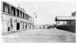 Ellis Island Dock with Immigrants in Background
