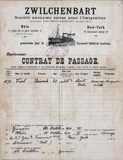 1910 Passage Contract for Italian Immigrant