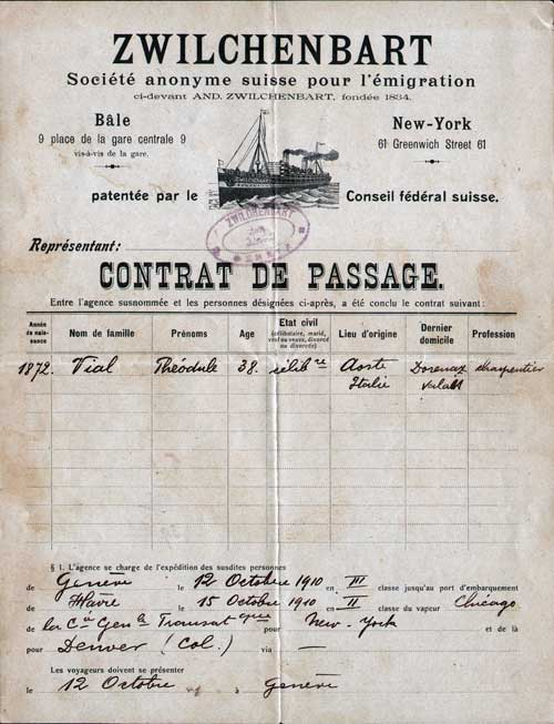 Contract for Passage, Italian Immigrant to the United States, 1910