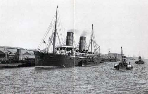 The Cunard Campania Mail Steamer at the Landing Stage