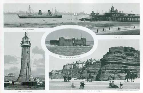 Mail Steamer; The Pier; The Red Noses; The Lighthouse; Perch Rock Battery
