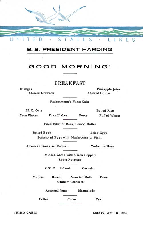 Breakfast Menu Card, S.S. President Harding, United States Lines, April 1934, Third Class