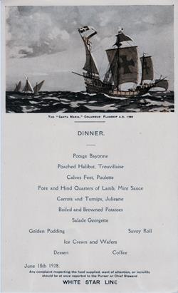 Dinner Menu, White Star Line R.M.S. Albertic