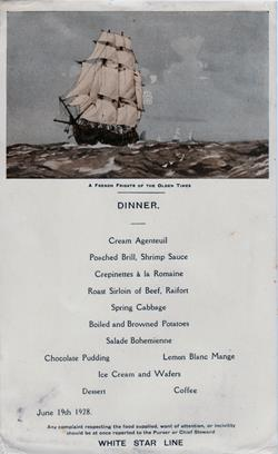 Dinner Menu, White Star Line R.M.S. Albertic - 19 June 1928