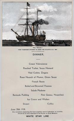 Dinner Menu, White Star Line Albertic - June 20, 1928