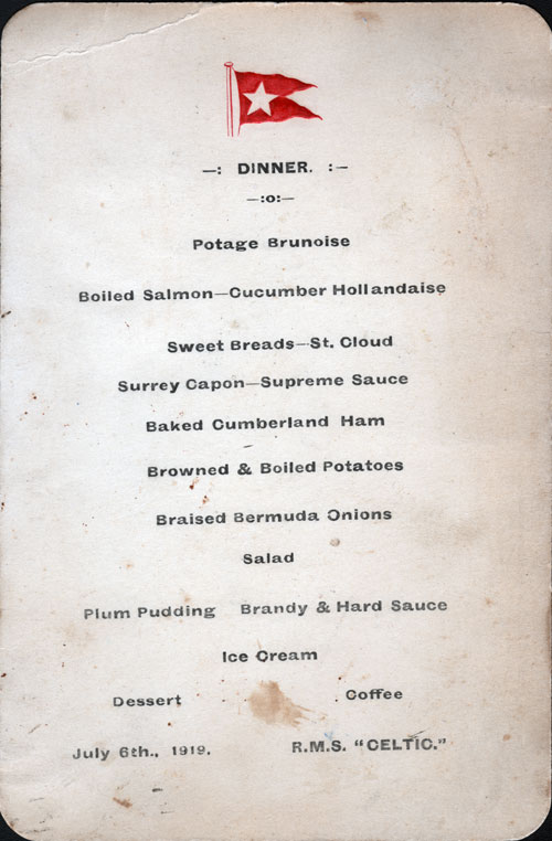 Menu Card, White Star Line R.M.S. Celtic - 1919