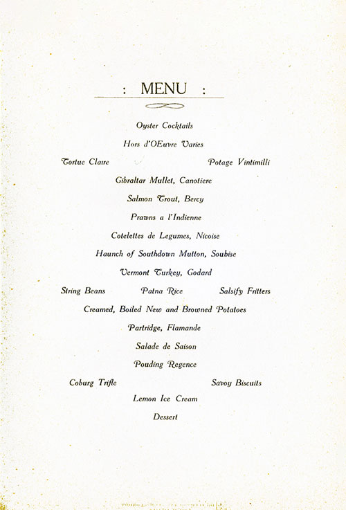 Menu Items for a Gala Dinner Menu, White Star Line S.S. Laurentic, 1928