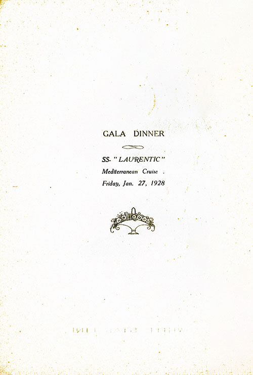 Title Page for a Gala Dinner Menu, White Star Line S.S. Laurentic, 1928