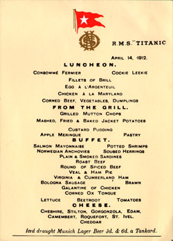 Luncheon Menu, R.M.S. Titanic, 14 April 1912