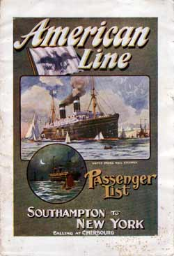 Passenger Manifest Cover, September 1911 Westbound Voyage - S.S. St. Louis