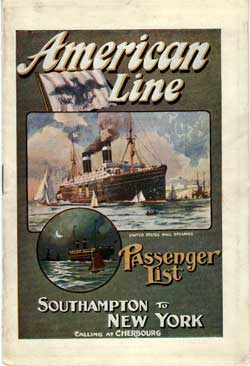 Passenger List, American Line S.S. St. Louis, 1912, Southampton and Cherbourg to New York