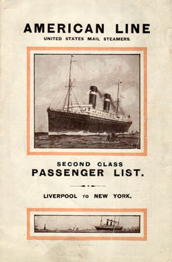 Passenger List Cover, May 1915 Westbound Voyage - S.S. St. Louis