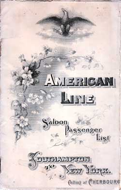 Passenger Manifest Cover, September 1901 Westbound Voyage - S.S. St. Paul