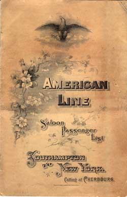 List of Passengers, American Line S.S. St. Paul, 1902 Southampton to New York